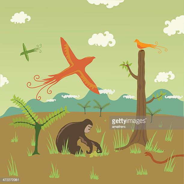 stockillustraties, clipart, cartoons en iconen met birds, apes, snakes in field with background of hills - chimpanzee