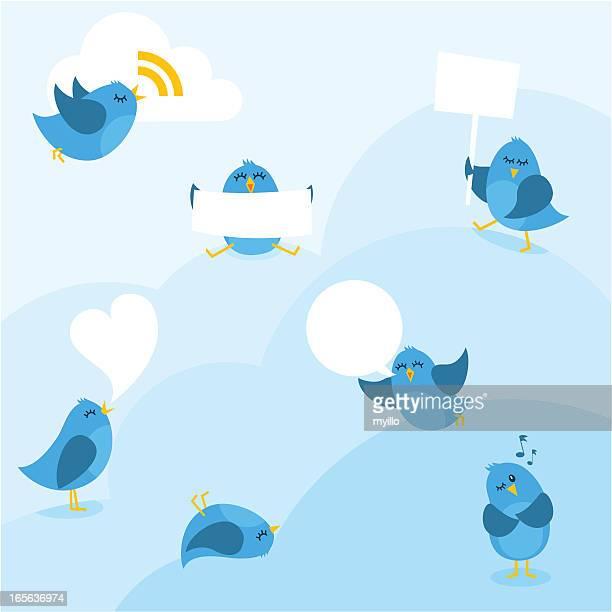 ilustrações de stock, clip art, desenhos animados e ícones de pássaros bluebirds mensagem copyspace myillo nuvem partilhar azul - canto de passarinho