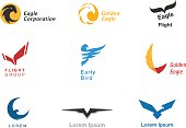 Birds branding symbols vector set