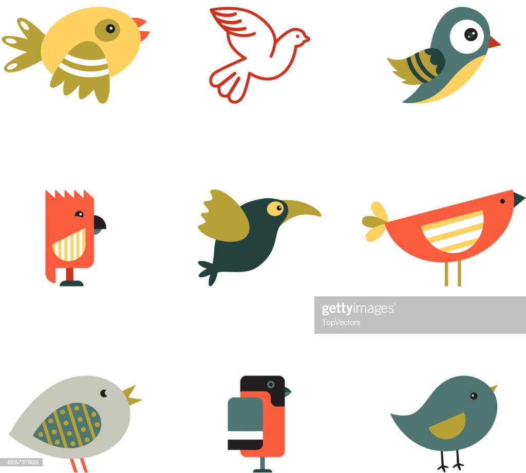 Birds Different Styles Vector Illustration