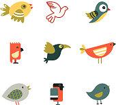 Birds Different Styles Vector Illustration