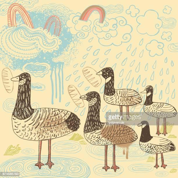 birds feeding - duck stock illustrations, clip art, cartoons, & icons