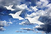 birds in clouds