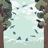 Birds in flight over the forest