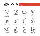 Birds - line design icons set