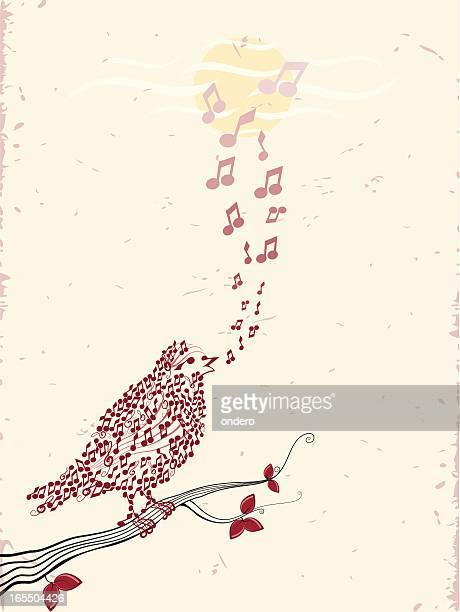 ilustrações de stock, clip art, desenhos animados e ícones de aves & música - canto de passarinho