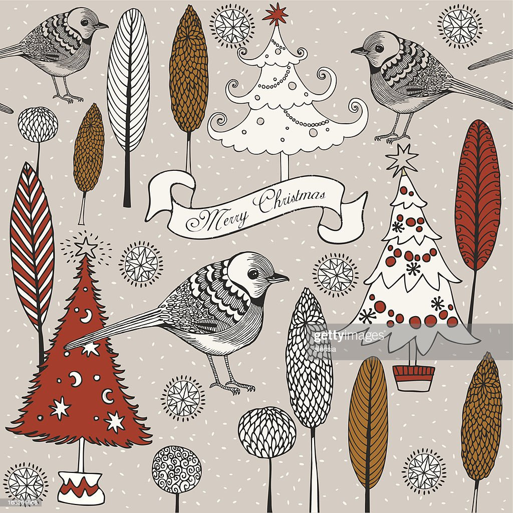 Birds on a winter tree.Christmas card.