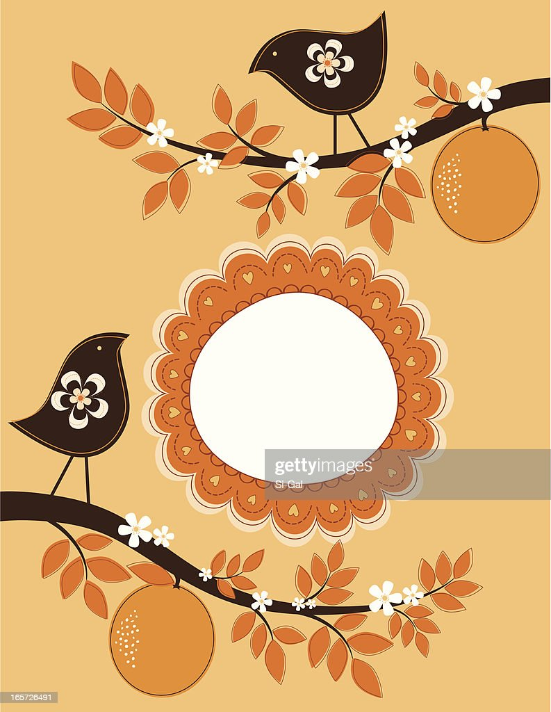 Birds on an Orange Tree