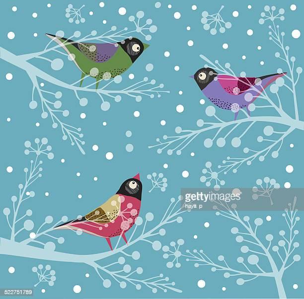 Vögel am Baum im Winter