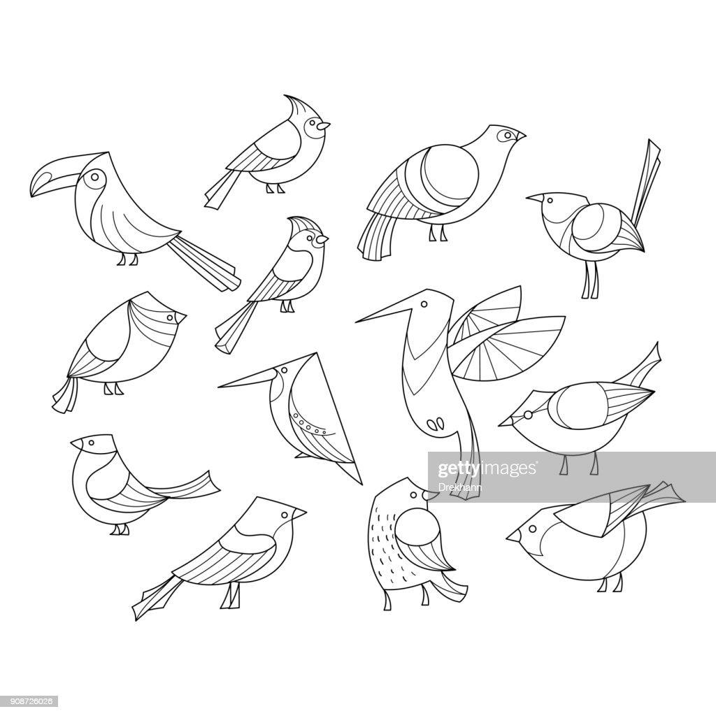 Birds set. Lined vector collextion.
