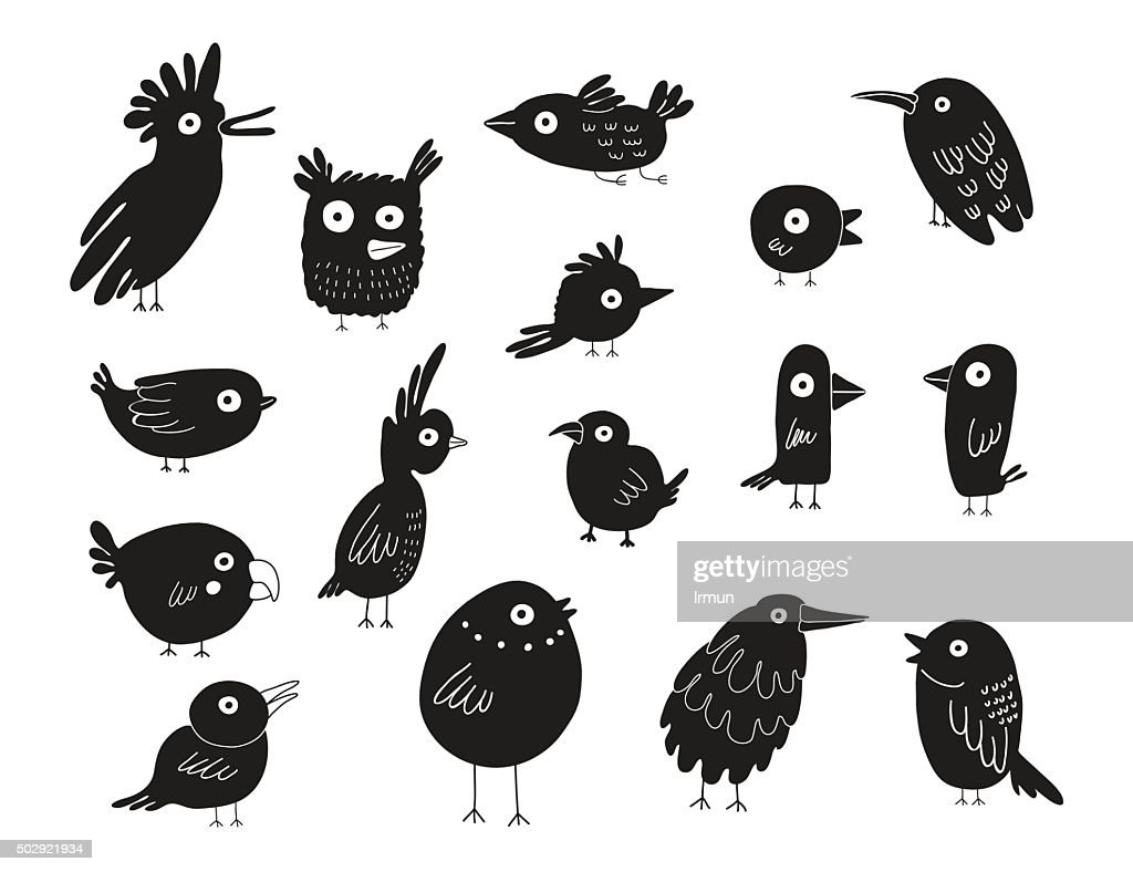Birds silhouettes set, vector illustration