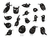 Birds silhouettes set, vector illustration