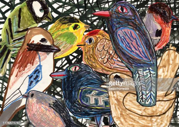 birds - mixed media stock illustrations
