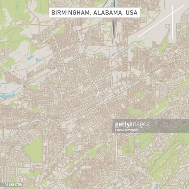 米国アラバマ州バーミンガム市地図 - アラバマ州バーミングハム点のイラスト素材/クリップアート素材/マンガ素材/アイコン素材