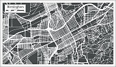 Birmingham Alabama USA City Map in Retro Style. Outline Map.