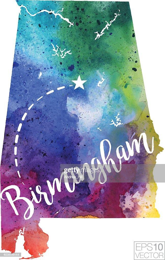 Birmingham, Alabama Vector Watercolor Map : stock illustration