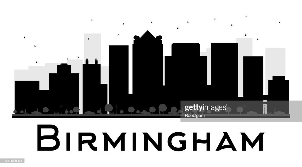 Birmingham City skyline black and white silhouette