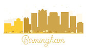 Birmingham City skyline golden silhouette.