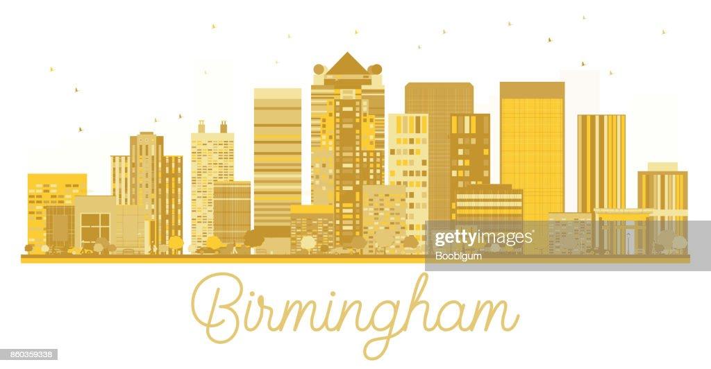 Birmingham City skyline golden silhouette.