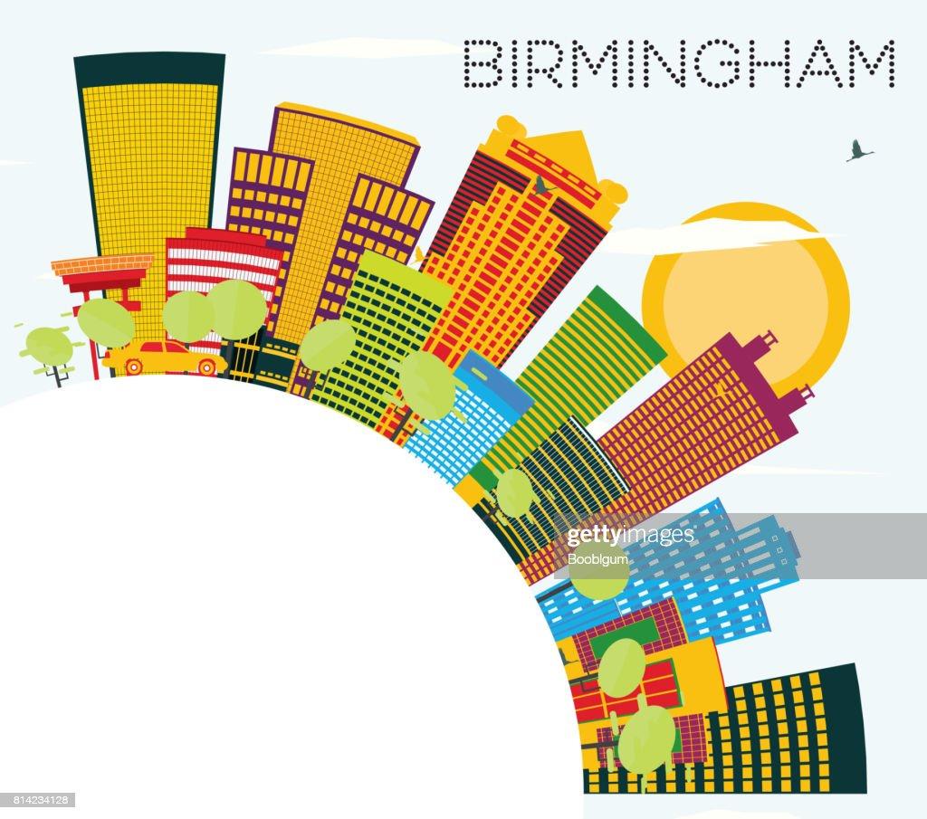 Birmingham Skyline with Color Buildings, Blue Sky and Copy Space.