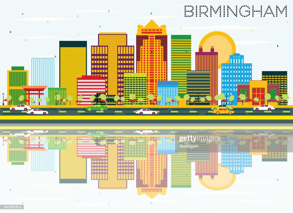 Birmingham Skyline with Color Buildings