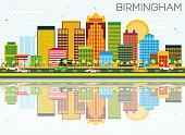 Birmingham Skyline with Color Buildings