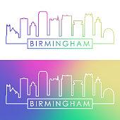 Birmingham USA skyline. Colorful linear style. Editable vector file.