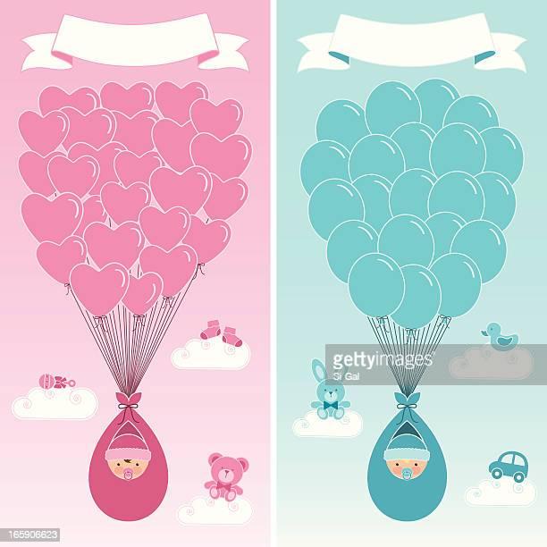 ilustrações, clipart, desenhos animados e ícones de nascimento anúncio banners - baby blanket