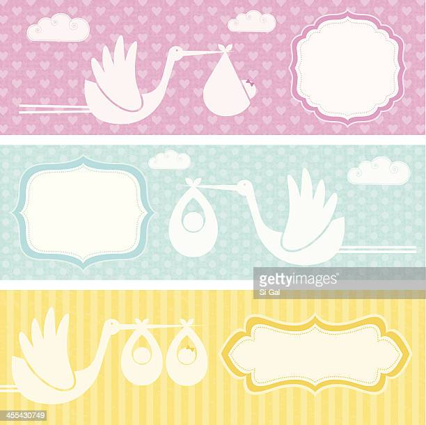 birth announcement banners  (family life series) - blanket stock illustrations