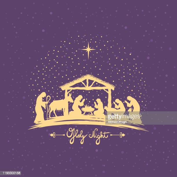 birth of christ. nativity scene. - nativity scene stock illustrations