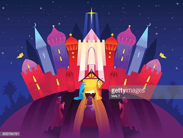 birth of christ nativity scene - jesus stock illustrations, clip art, cartoons, & icons