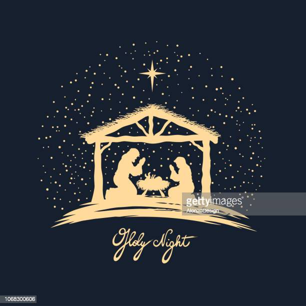 birth of christ - nativity scene stock illustrations