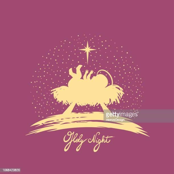 bildbanksillustrationer, clip art samt tecknat material och ikoner med kristi födelse - religiös symbol