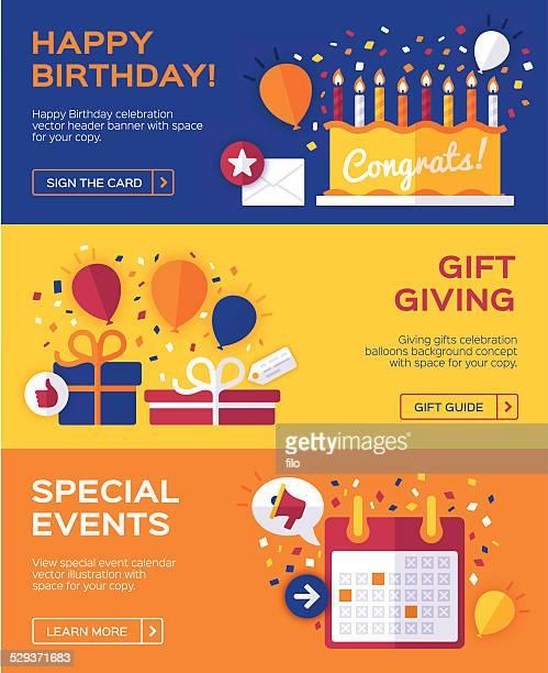 illustrations, cliparts, dessins animés et icônes de célébration d'anniversaire et bannières - birthday