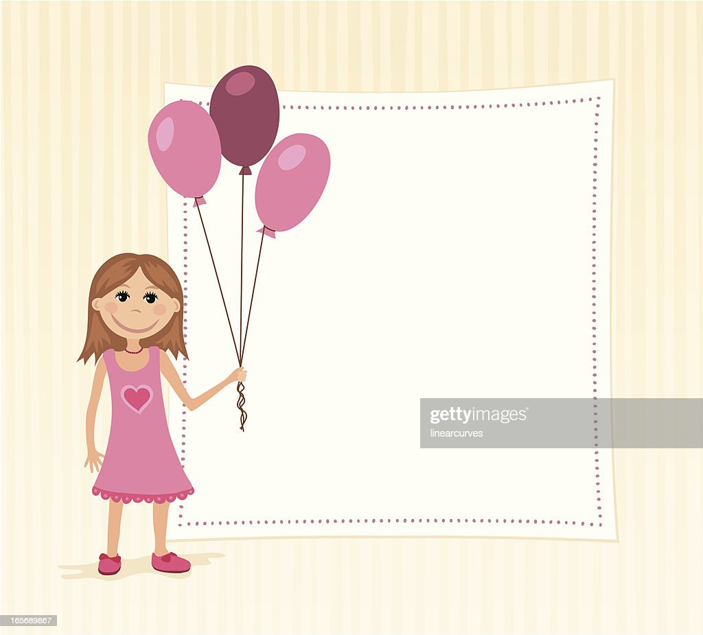 Birthday Background With A Girl Holding Balloons Stock Vector