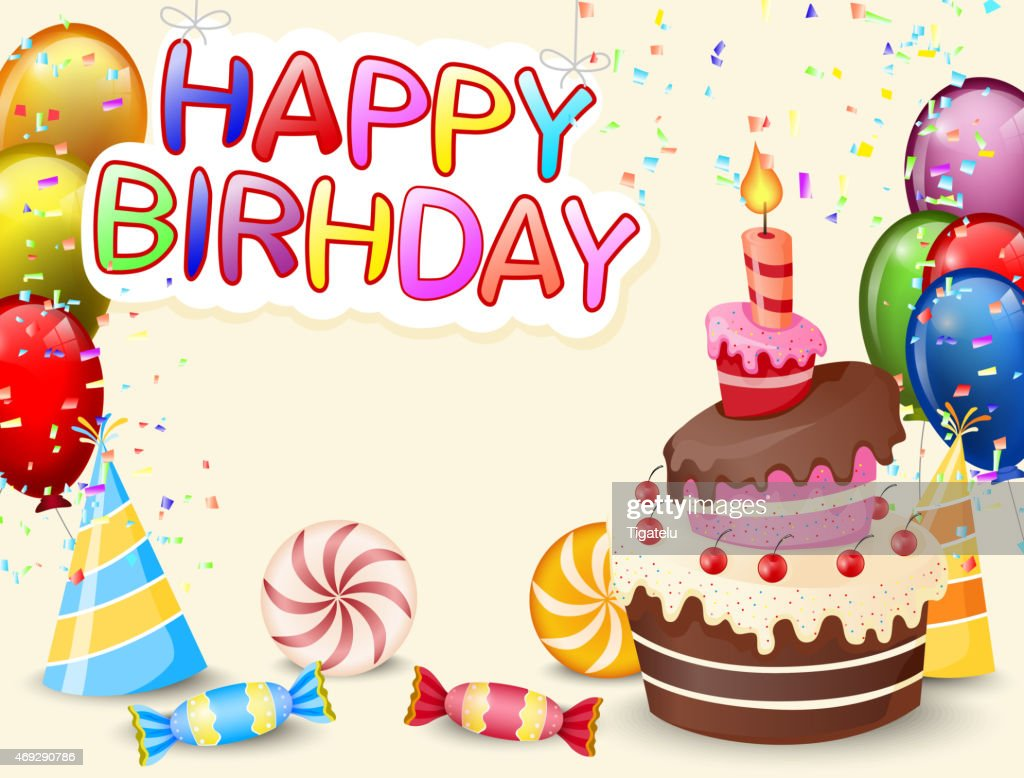 Pleasing Birthday Background With Birthday Cake Cartoon Stockillustraties Funny Birthday Cards Online Elaedamsfinfo