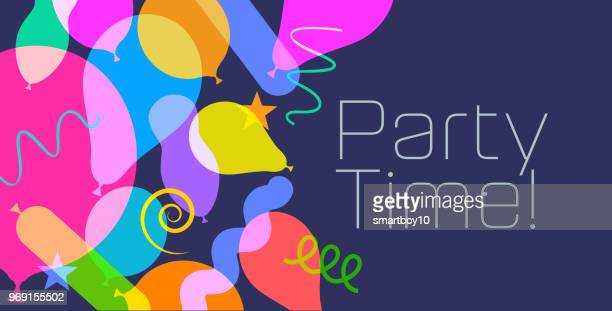 birthday balloons banners - happy birthday banner stock illustrations