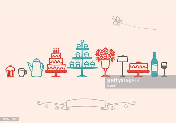 Birthday Banquet Table Setting Icon Set
