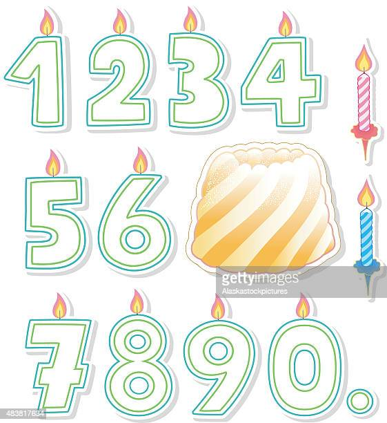 birthday cake and candles - birthday candle stock illustrations