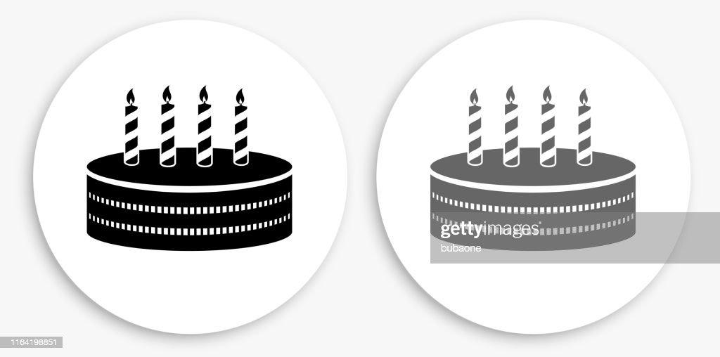 Cool Birthday Cake Black And White Round Icon High Res Vector Graphic Funny Birthday Cards Online Elaedamsfinfo