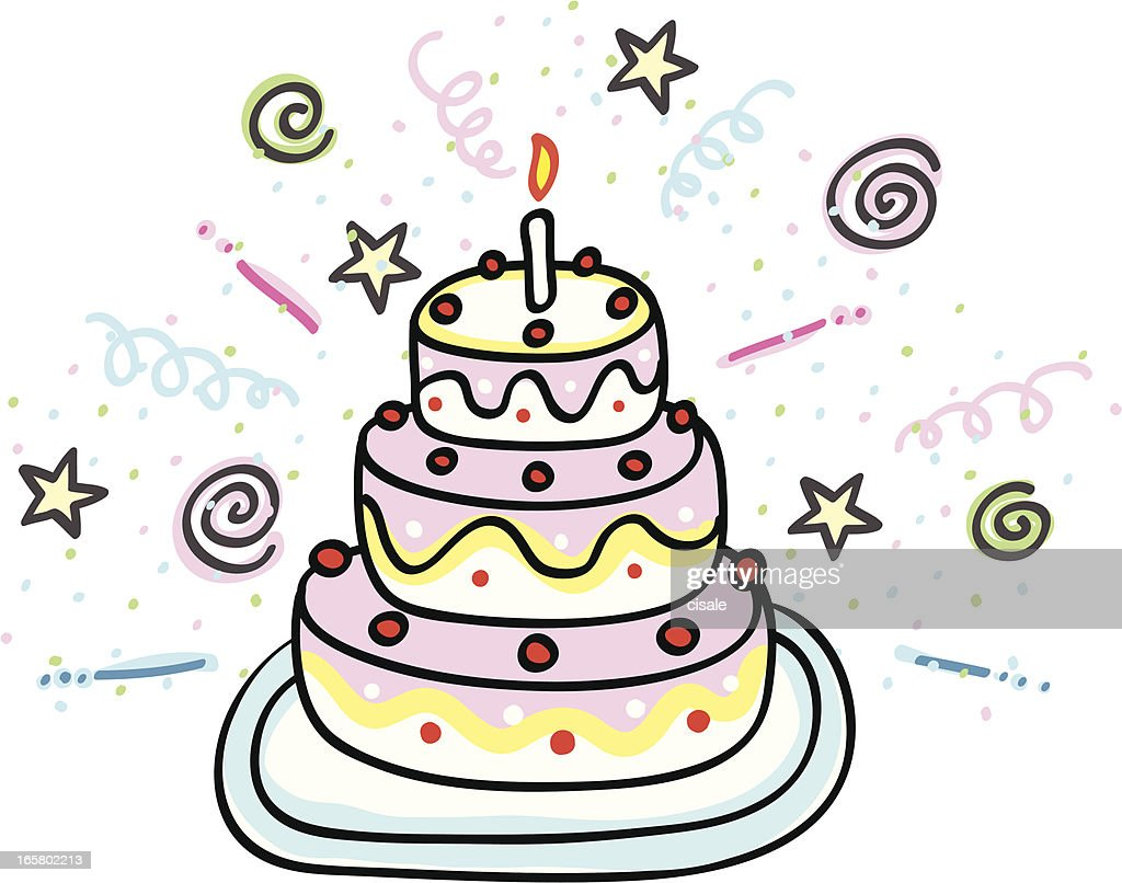 Admirable Birthday Cake Cartoon Illustration High Res Vector Graphic Getty Funny Birthday Cards Online Alyptdamsfinfo