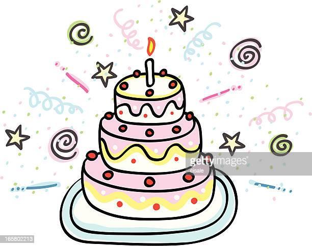 birthday cake cartoon illustration - cartoon desserts stock illustrations
