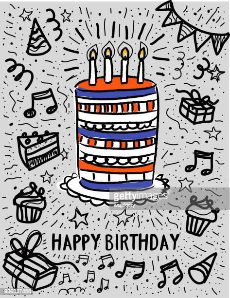 illustrations, cliparts, dessins animés et icônes de doodle gâteau anniversaire - anniversaire