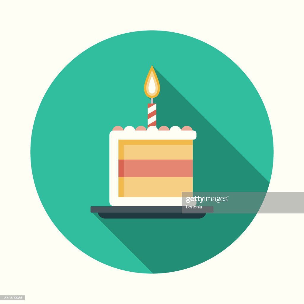 Birthday Cake Flat Design Party Icon with Side Shadow