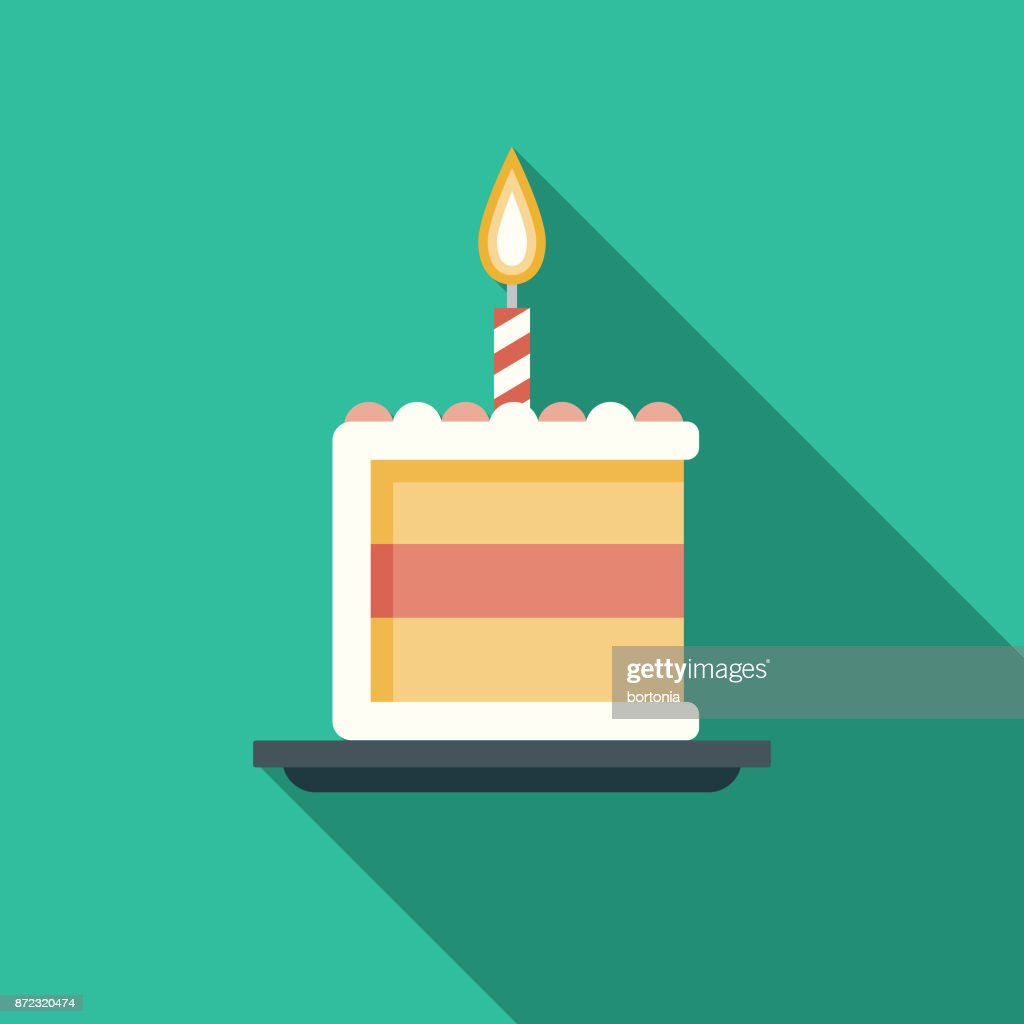 Birthday Cake Flat Design Party Icon With Side Shadow Vector Art