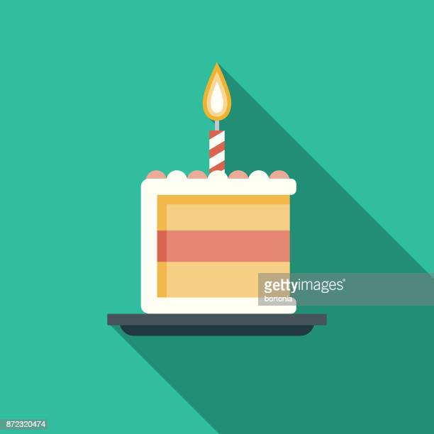 birthday cake flat design party icon with side shadow - happy birthday stock illustrations