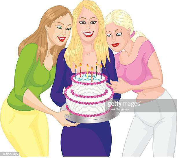 birthday cake girls - making a cake stock illustrations, clip art, cartoons, & icons