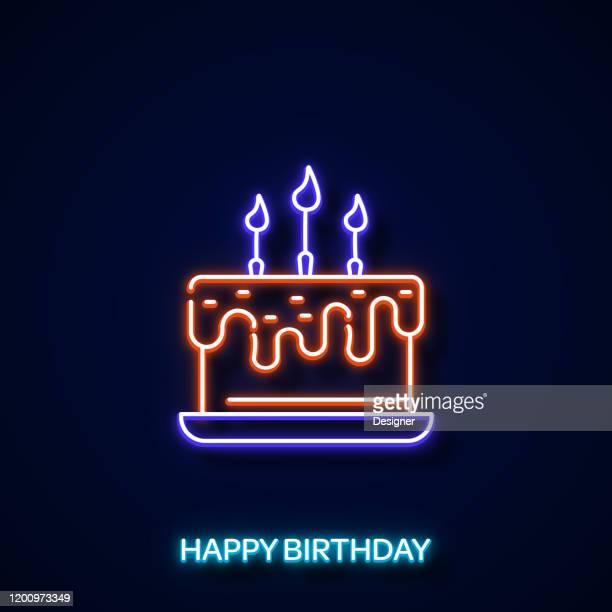 birthday cake icon neon style, design elements - birthday cake stock illustrations
