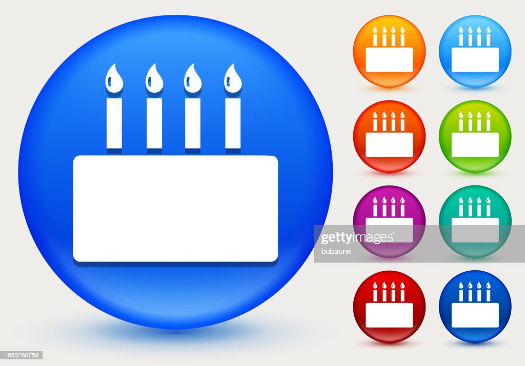 Birthday Cake Icon on Shiny Color Circle Buttons : Arte vettoriale