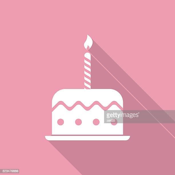 illustrations, cliparts, dessins animés et icônes de gâteau d'anniversaire icône - gateau anniversaire